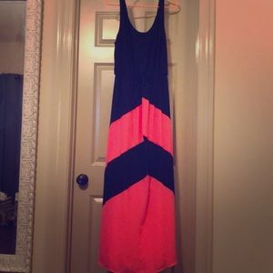 Black and pink maxi dress